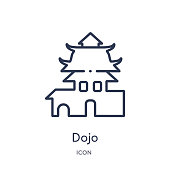 Linear dojo icon from Asian outline collection. Thin line dojo vector isolated on white background. dojo trendy illustration