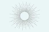 Linear drawing of light rays, sunburst