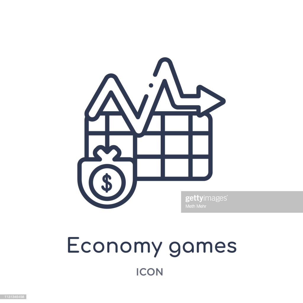 Linear economy games icon from Business outline collection. Thin line economy games icon isolated on white background. economy games trendy illustration
