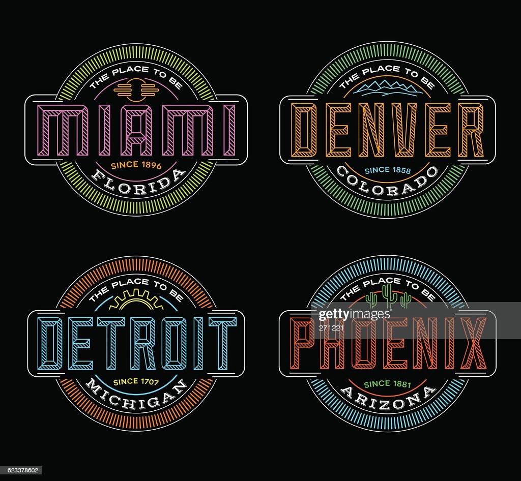 Linear emblems for US cities. Miami, Denver, Detroit, Phoenix