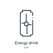 Linear energy drink icon from Drinks outline collection. Thin line energy drink vector isolated on white background. energy drink trendy illustration