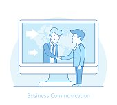 Linear Flat businessmen handshake over computer internet technology vector illustration. Business communications, globalization, teamwork concept.