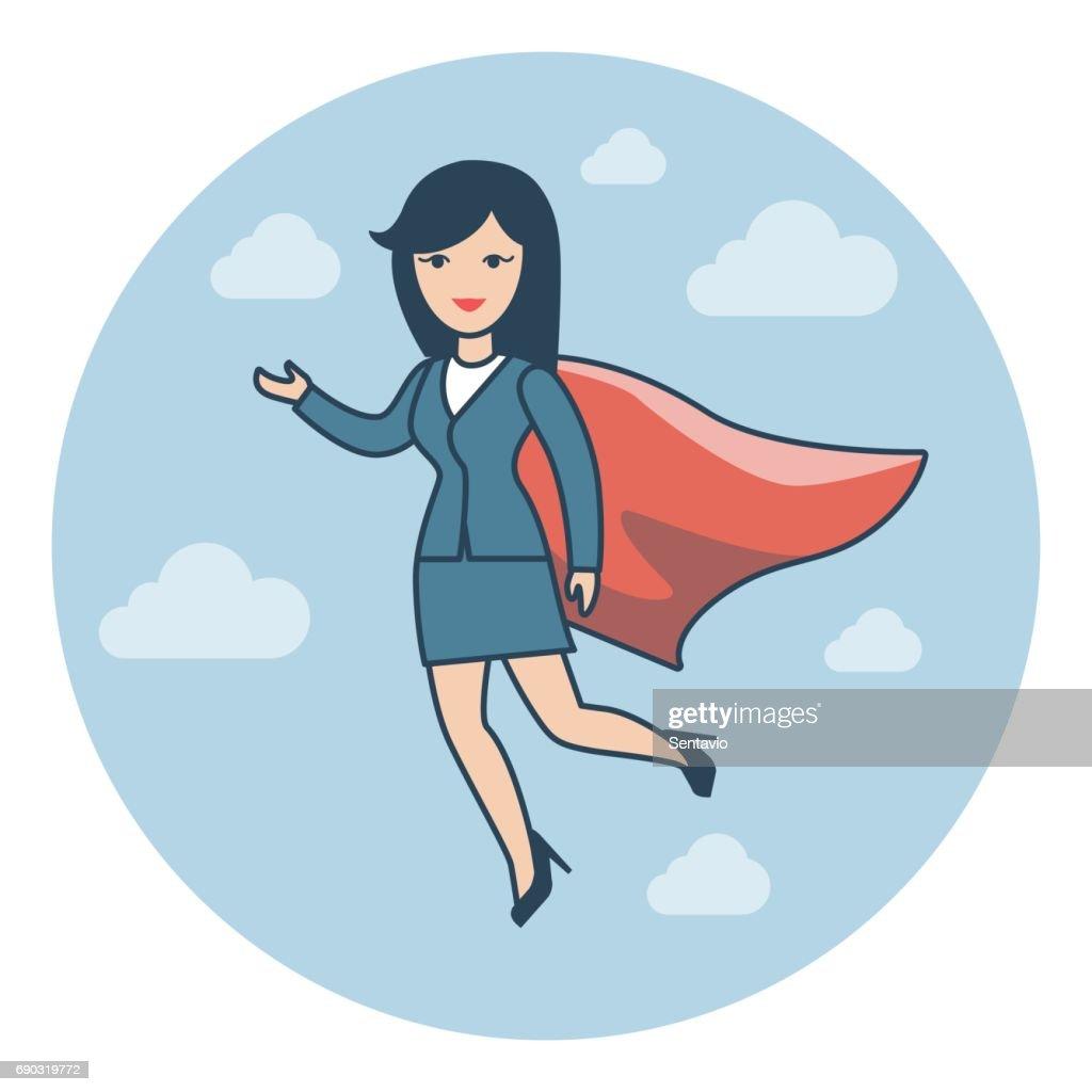 Linearen Flachen Geschäftsfrau Fliegen In Anzug Und Superhelden ...