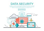 Linear flat Data Security infographics template and icons website hero image vector illustration. App programming technology and software concept.