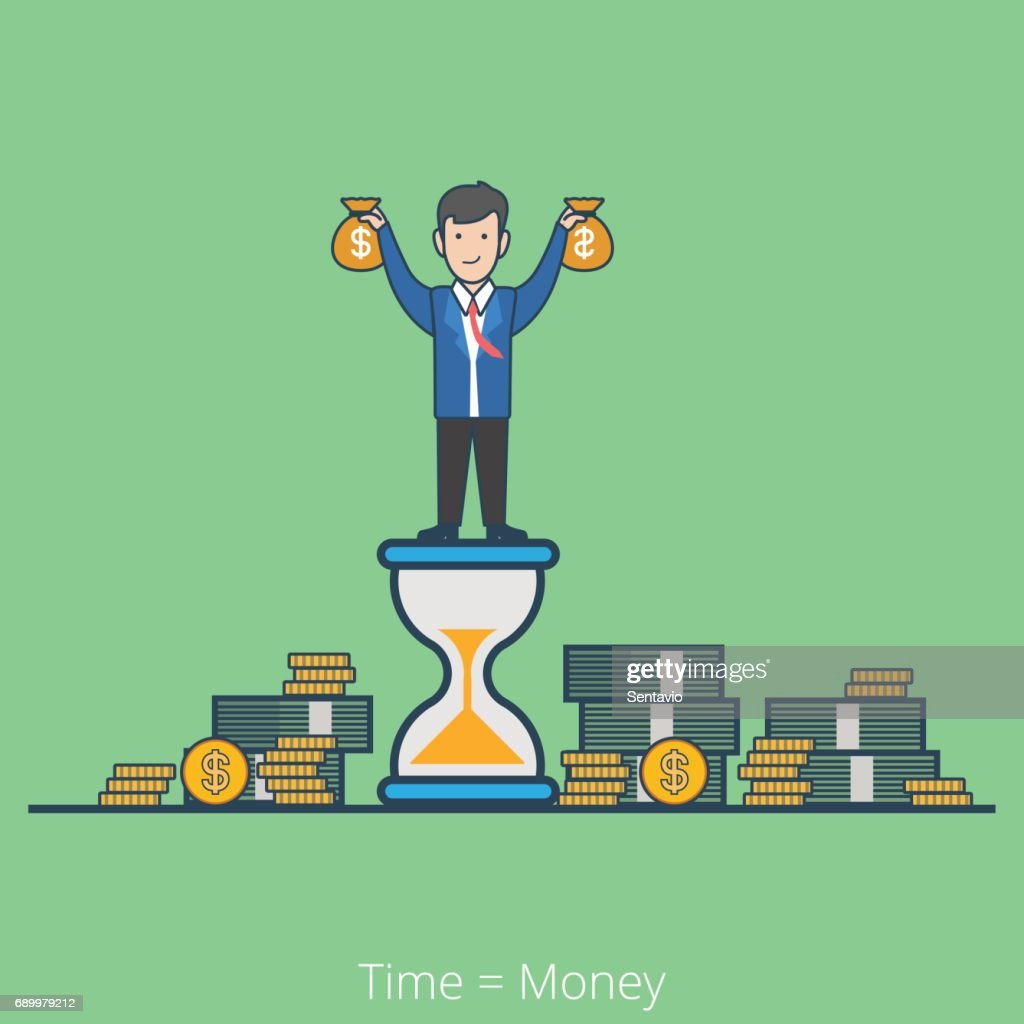 Linear flat line art style time is money business concept. Businessman on hourglass holding moneybags stacks of dollar coin notes. Conceptual businesspeople vector illustration collection.