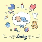 Linear Flat little Boy sleeping on cloud, First Year of Baby vector illustration. Template for Scrap booking hand made album or greeting card. Parenting and Newborn concept.
