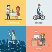 Linear flat vector casual people lifestyle situation set. Waiter and client, Man riding bicycle, DJ in disco nightclub, business woman working on computer characters illustrations collection.