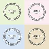 Linear frames with text set. Outline design