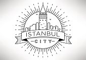 Linear Galata Tower Istanbul Icon Design