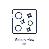 Linear galaxy view icon from Astronomy outline collection. Thin line galaxy view vector isolated on white background. galaxy view trendy illustration