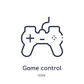 Linear game control icon from Artifical intelligence outline collection. Thin line game control vector isolated on white background. game control trendy illustration
