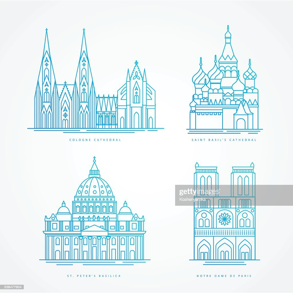 Linear icion set. World famous cathedral. Landmarks of europe