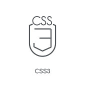 CSS3 linear icon. Modern outline CSS3 logo concept on white background from Technology collection