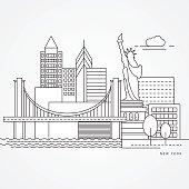 Linear illustration of New York, USA