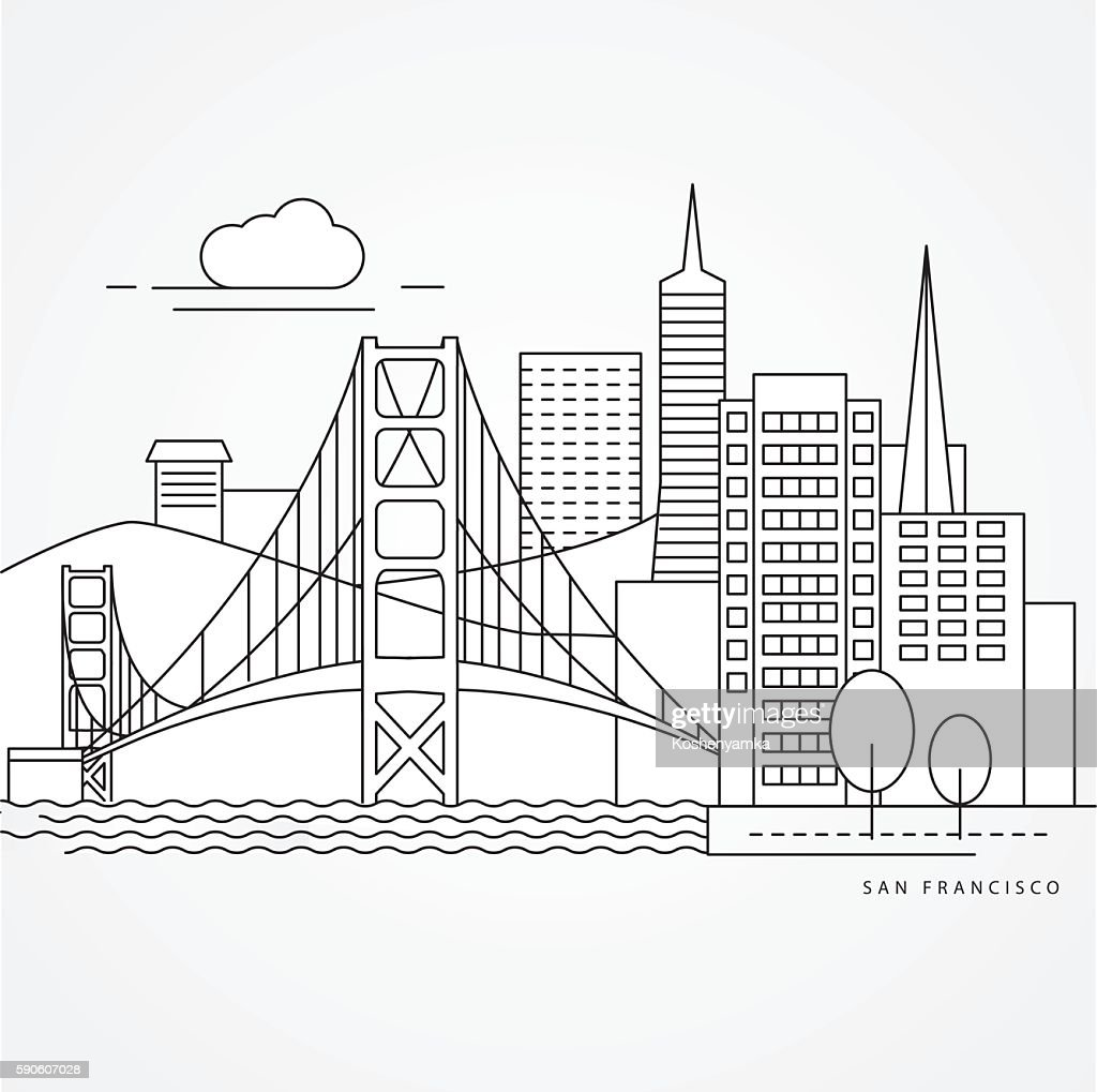 Linear illustration of San Francisco, USA.