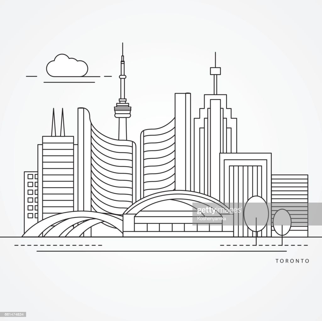 Linear illustration of Toronto, Canada. Flat one line style