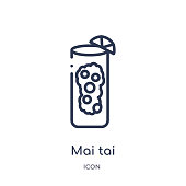 Linear mai tai icon from Drinks outline collection. Thin line mai tai vector isolated on white background. mai tai trendy illustration