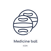Linear medicine ball icon from Gym equipment outline collection. Thin line medicine ball icon isolated on white background. medicine ball trendy illustration