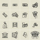 linear money icons, finance, business icons