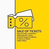 Linear poster Sale of tickets. Vector graphics