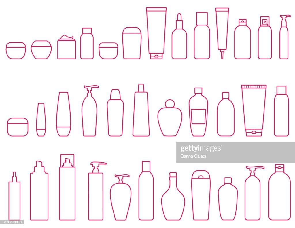 linear set of cosmetic bottle