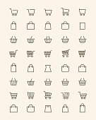 Linear shopping basket icons