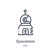 Linear spaceman icon from Astronomy outline collection. Thin line spaceman vector isolated on white background. spaceman trendy illustration