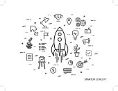 Linear Startup space ship rocket vector illustration