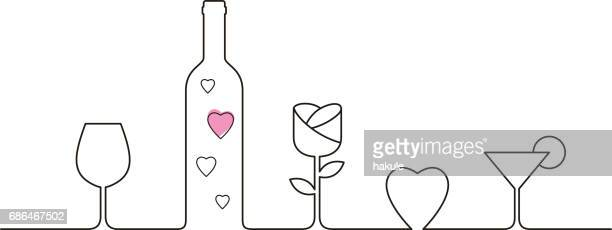 Linear style design for Valentines Day with wine glasses, rose and heart shaped