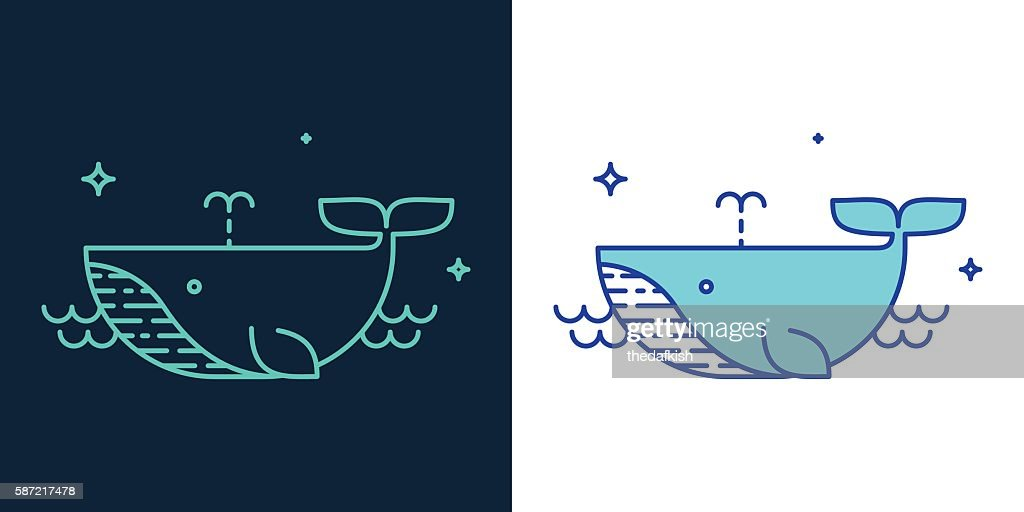 Linear style icon of a whale vector