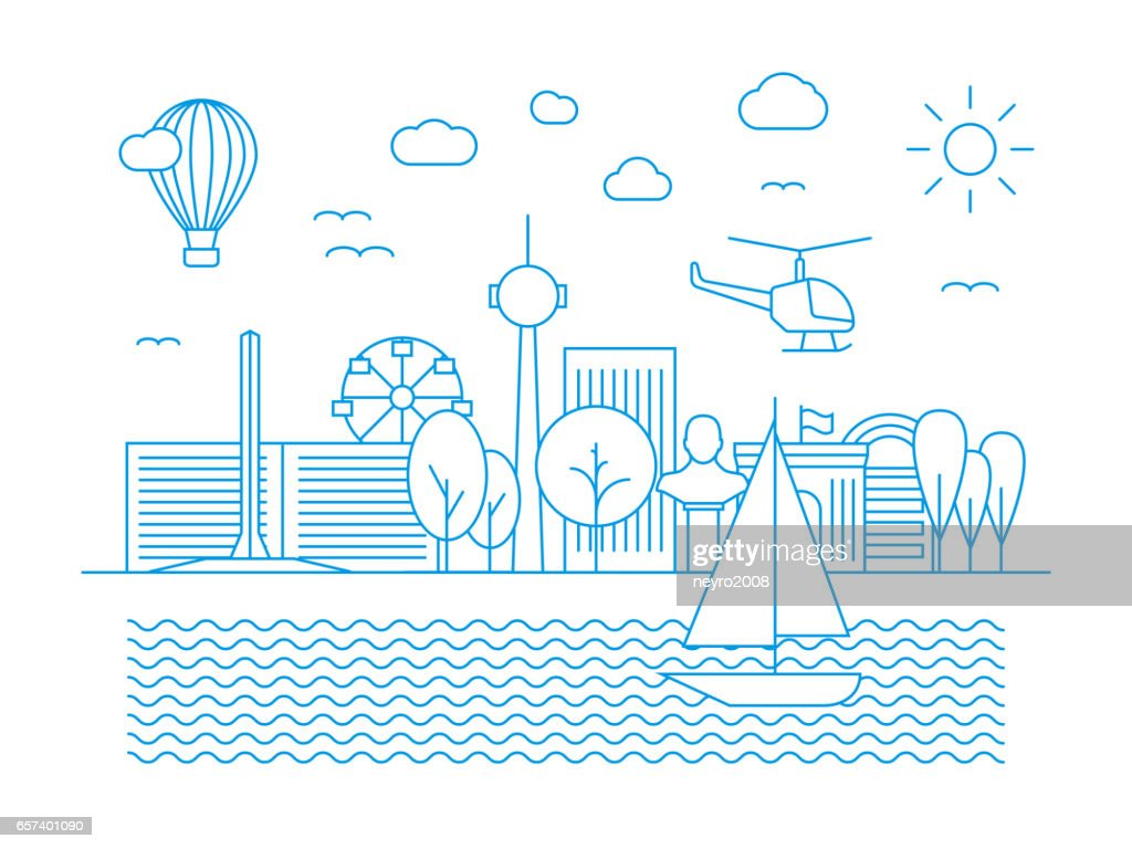 Linear urban skyline. City panorama in line art vector style