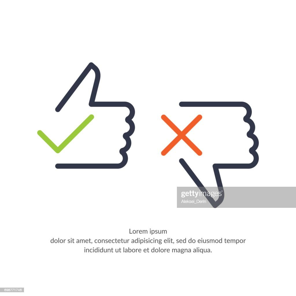 Linear vector illustration of hand voting with Yes and No in flat style suitable for website design and applications