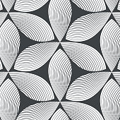 linear vector pattern, repeating abstract leaves, gray line of leaf or flower, floral. graphic clean design for fabric, event, wallpaper etc. pattern is on swatches panel