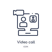 Linear video call icon from Customer service outline collection. Thin line video call vector isolated on white background. video call trendy illustration