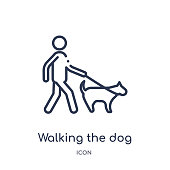 Linear walking the dog icon from Behavior outline collection. Thin line walking the dog vector isolated on white background. walking the dog trendy illustration