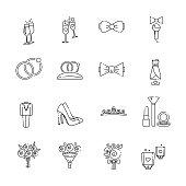 Linear wedding icons set.