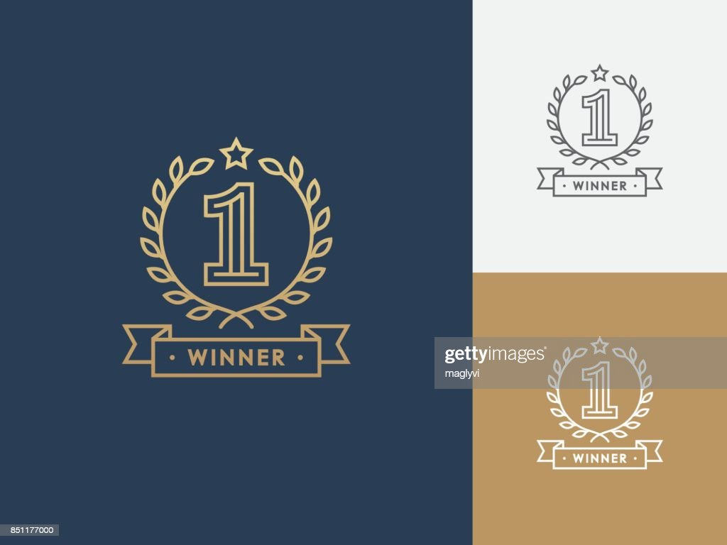 Linear winner emblem with number 1.