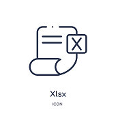 Linear xlsx icon from Artifical intelligence outline collection. Thin line xlsx vector isolated on white background. xlsx trendy illustration
