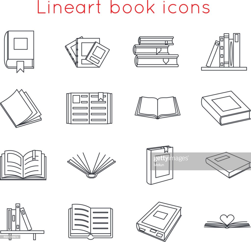 Lineart Book Icons Symbols icons Set Template for Web Isometric Isolated Vector Illustration