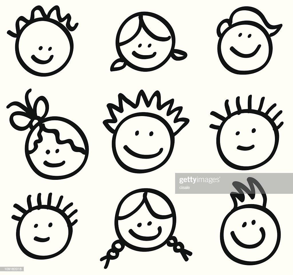 lineart children head cartoons