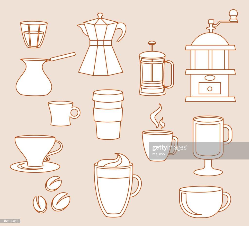 Line-art coffee shop elements