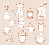 Line-art coffee shop elements