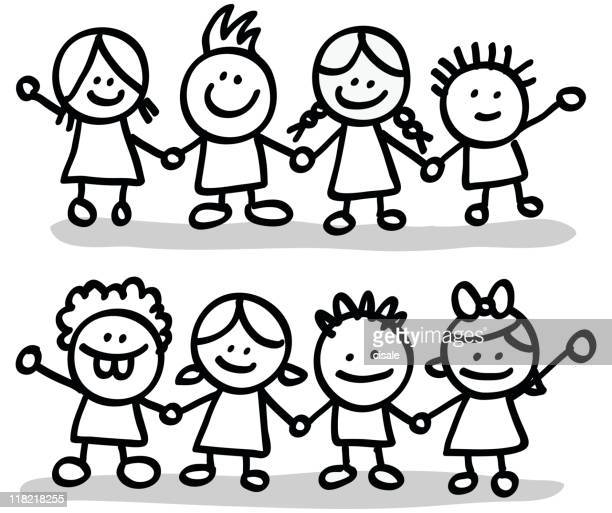 lineart happy children friends group holding hands cartoon illustration