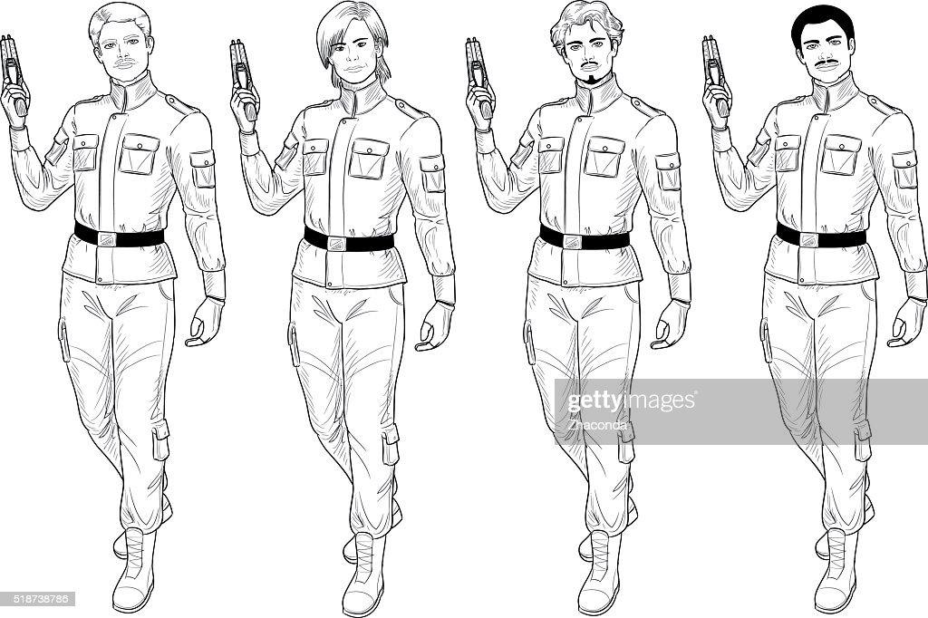 Lineart male in military uniform holds taser