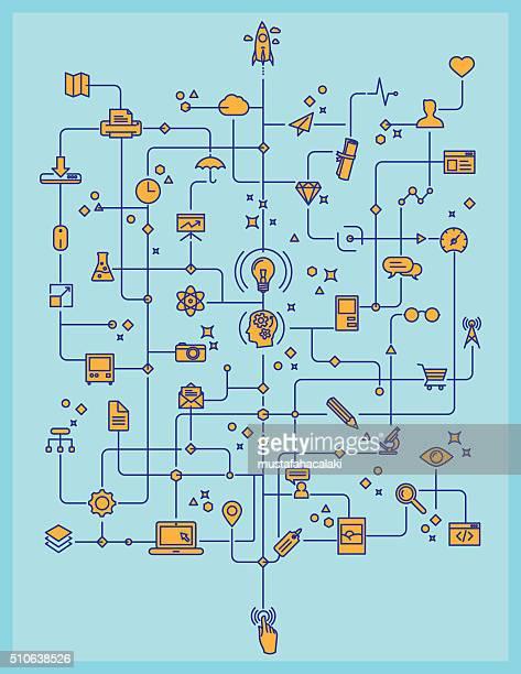 Lineart processo di tecnologia e creatività