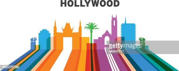 Lined Hollywood cityscape