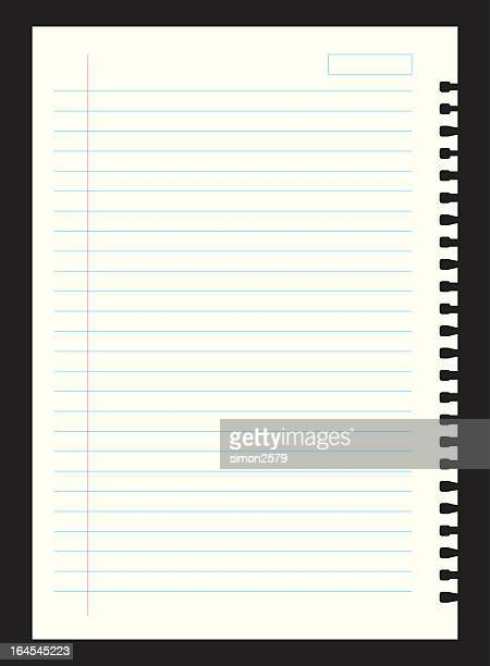 Lined notebook paper on black background