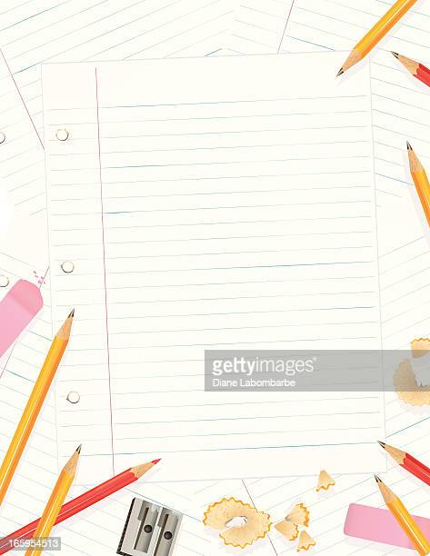Lined Paper With pencils And Erasers