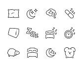 Lined Sleep Well Icons
