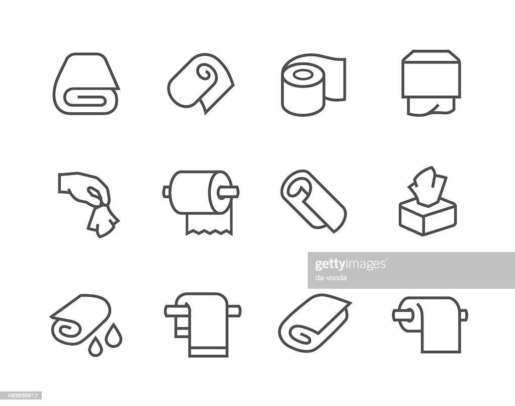Lined Towels and Napkins Icons